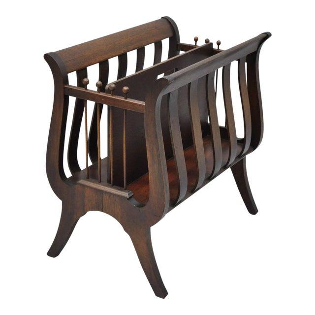 Antique Ferguson Mahogany Lyre Harp Form Magazine Rack Canterbury Stand For Sale