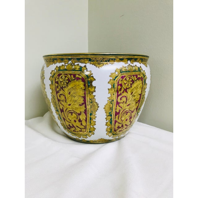 1970s Vintage Andrea by Sadek Chinoiserie Fish Bowl Ceramic Floor Planter Cachepot For Sale - Image 5 of 11