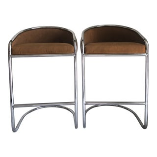 20th Century Contemporary Cantilever Bar Stools - a Pair
