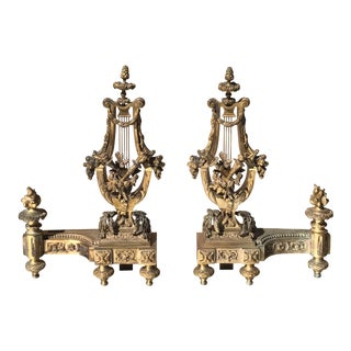 Chemats Dore Bronze Andirons - A Pair