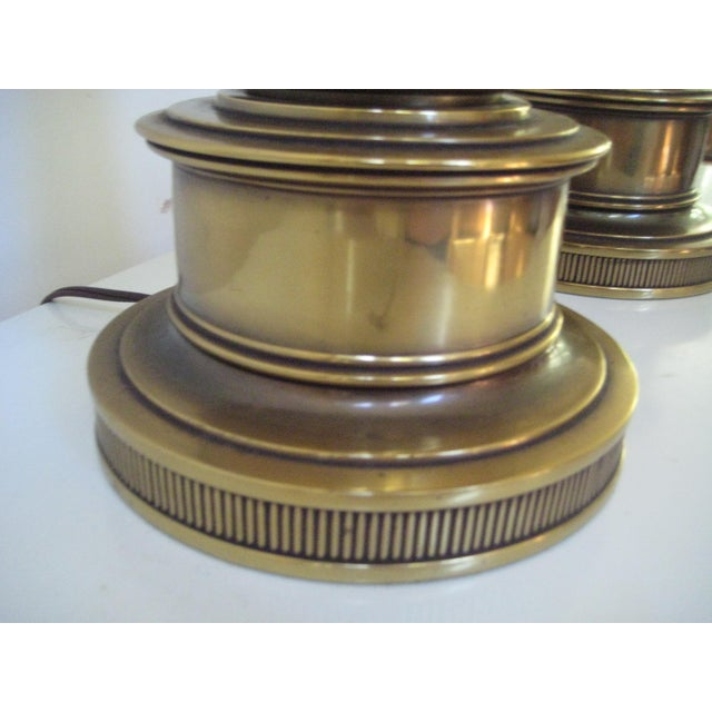 Stiffel Federal Style Brass Table Lamps - A Pair - Image 5 of 7