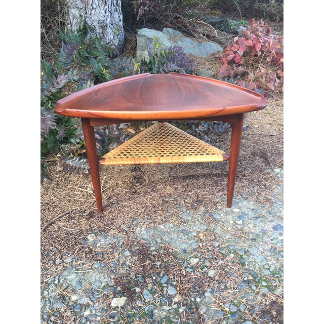 Danish Modern Teak & Cane Side Table - Image 3 of 9