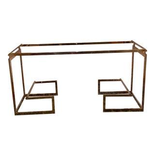 Vintage Mid Century Modern Iconoc Brass 2 Shelf Console Base For Sale