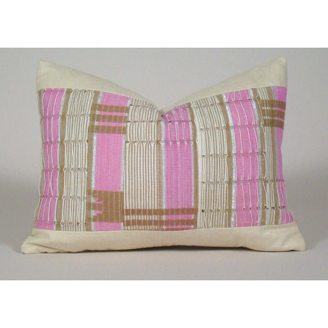 African Boho Chic Handwoven Aso Oke Khaki and Pink Cotton Pillow Cover For Sale - Image 11 of 11