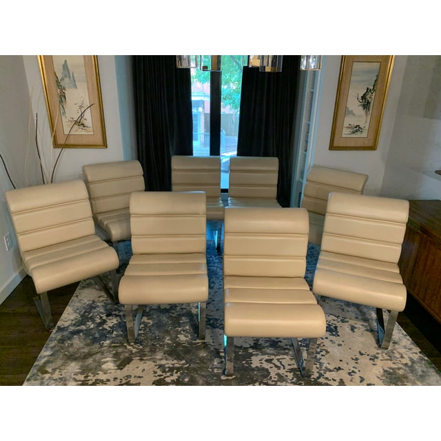 Mariani Laguna Pace Cantilevered Chrome and Leather Dining Chairs - Set of 8 For Sale - Image 11 of 11
