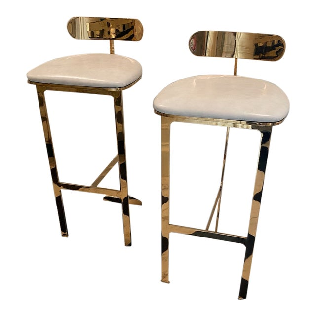 Solid Brass Bar Stools With Leather Seats - A Pair For Sale