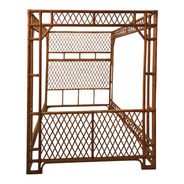 Rattan Bamboo Chinese Chippendale Queen Canopy Bed For Sale - Image 12 of 12