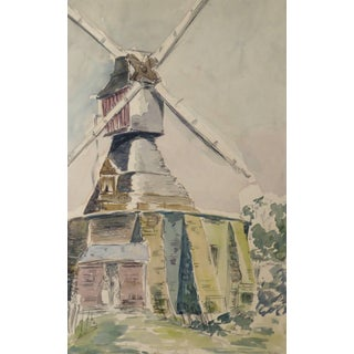 Vintage French Watercolor - Windmill For Sale