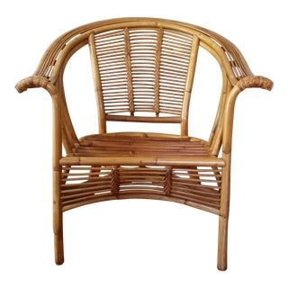 1970s Boho Chic Rattan Bamboo Armchair For Sale