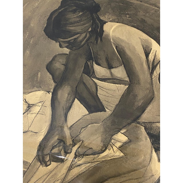 """Mid Century Modern Watercolor """"Washing Clothes"""" Puerto Vallarta by Daniel C.1957 For Sale In San Francisco - Image 6 of 9"""
