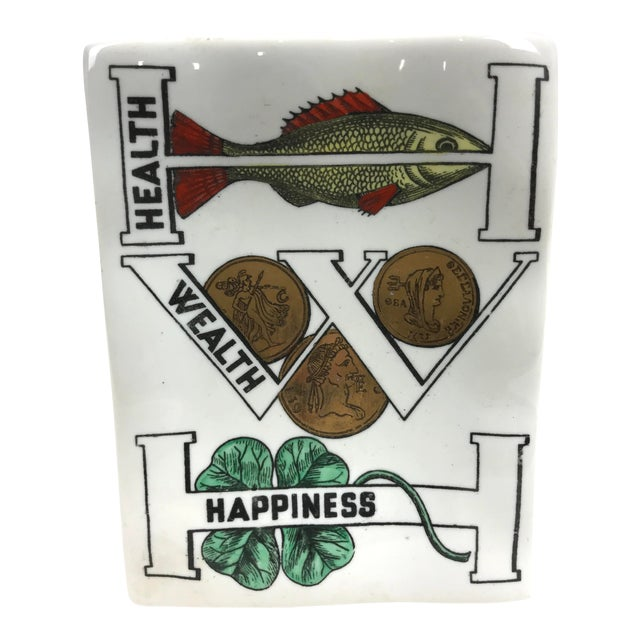 Piero Fornasetti Porcelain Good Luck Tray Dish For Sale
