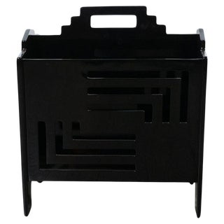 Art Deco Machine Age Skyscraper Style Black Lacquer Magazine Holder For Sale