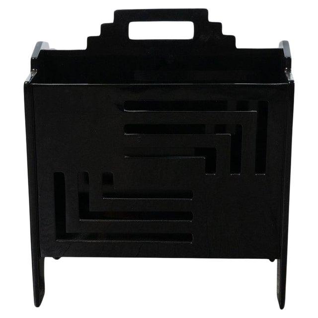 Art Deco Machine Age Skyscraper Style Black Lacquer Magazine Holder For Sale