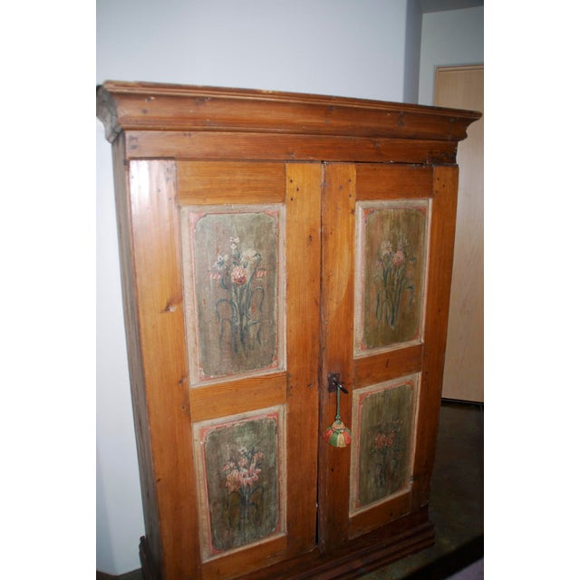 Rare late 18th Century/early 19th Century rustic cupboard/armoire with handprinted panels, bun feet. Very sturdy, original...