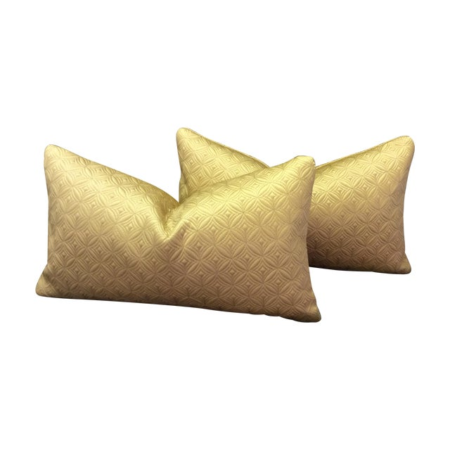 Custom Made Gold Pillows - Pair - Image 1 of 6
