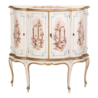 Louis XV Style Painted and Parcel-Gilt Side Cabinet For Sale