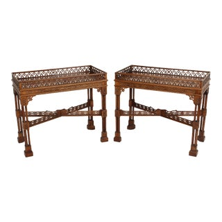 Pair of Chinese Chippendale Style Side Tables For Sale
