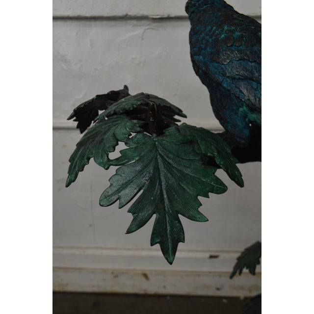 Bronze Cold Painted Bronze Large Statue of Jungle Birds on a Tree For Sale - Image 7 of 13