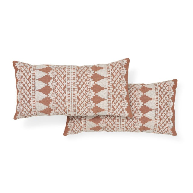 Contemporary Schumacher Wentworth Embroidery Pillow in Rust For Sale - Image 3 of 7
