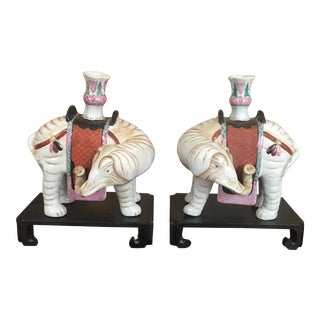 Mottahedeh Winterthur Collection Pair of Indian Elephants Candlesticks Book Ends on Wooden Bases - A Pair For Sale