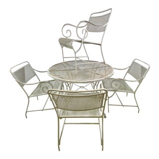Mid-Century Neoclassic Hollywood Regency Patio Dining Set of Cast Aluminum/Steel 5pc Set For Sale