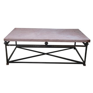 Quality Iron Base Coffee Table With Slate Top For Sale