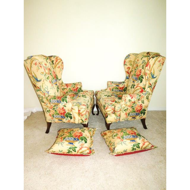 Queen Anne Style Floral Upholstered Wing-Backed Chairs - a Pair For Sale - Image 4 of 13