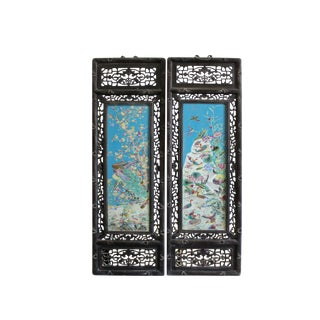 Pair Carved Chinese Huali Turquoise Blue Porcelain Scenery Wall Panels For Sale