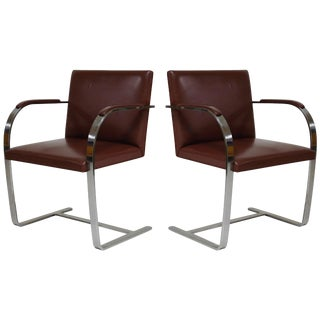 Pair of 'Brno' Chairs by Mies Van Der Rohe for Knoll International, Signed For Sale
