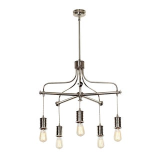 Douille 5-Light Polished Nickel Chandelier For Sale