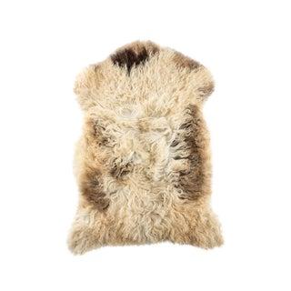 "Long Wool Sheepskin Pelt, Handmade Rug 2'2""x3'2"" For Sale"
