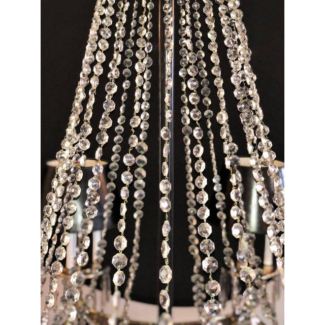 A Pair of Art Deco Palatial Eight Arm Ebony and Brass Chandeliers w Shades For Sale In New York - Image 6 of 12