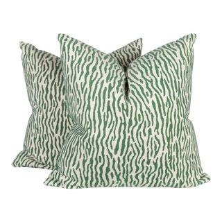 Green & Ivory Velvet Linen Zebra Pillows - A Pair