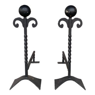 Vintage Cast Iron Andirons - a Pair For Sale