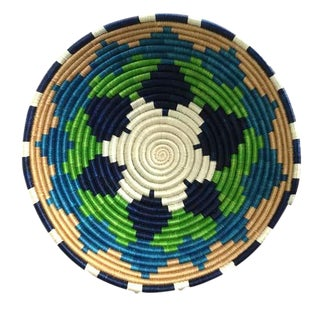 African Rwanda Blue and Green Grass and Sisal Woven Basket For Sale