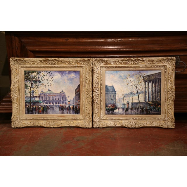 Pair of Mid-20th Century French Paris Paintings in Carved Frames Signed L. Dali For Sale In Dallas - Image 6 of 12