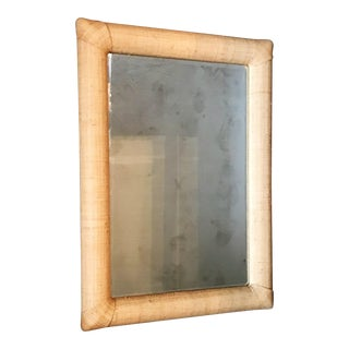 Custom Raffia Covered Beveled Mirror For Sale