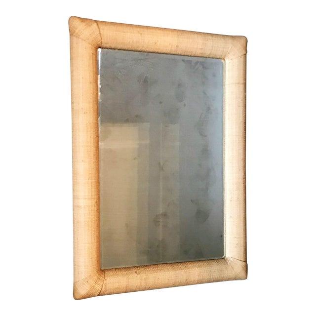 Custom Raffia Covered Beveled Mirror For Sale