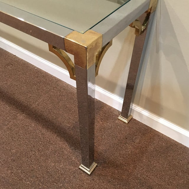 Mastercraft Mastercraft Chrome and Brass Console Table For Sale - Image 4 of 9