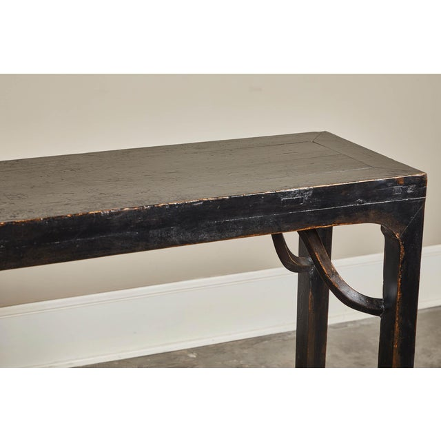 Lacquer 18th C. Ming Black Crackled Lacquer Console Table For Sale - Image 7 of 10