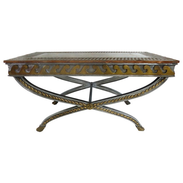 Stainless, Brass & Leather Coffee Table - Image 1 of 11