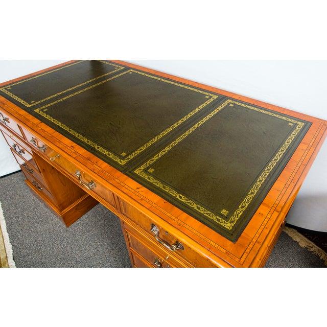 English Traditional Myrtlewood Burled Walnut Kneehole Executive Desk For Sale - Image 4 of 9