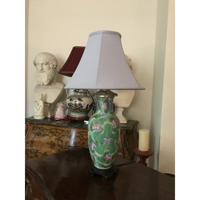 Beautiful lamp featuring soft hand painting, leaves, flowers, birds. This beautiful lamp comes with light purple shade and...