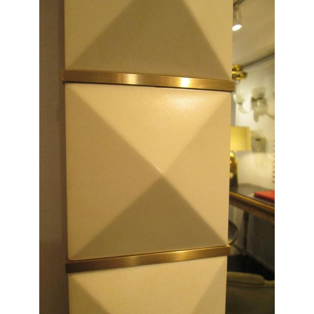 Custom Geometric Parchment Mirror with Inlaid Brass For Sale In New York - Image 6 of 7