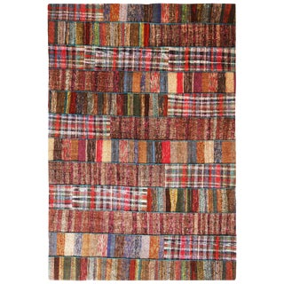 "Rug & Kilim's Contemporary Multicolor Patchwork Wool Kilim Rug-7'2'x9'11"" For Sale"