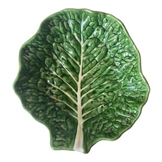Majolica Green Cabbage Leaf Large Bowl-13""