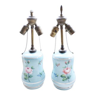 1930s Table Lamps Antique Czechoslovakia Porcelain With Hand Painted Flowers - a Pair For Sale