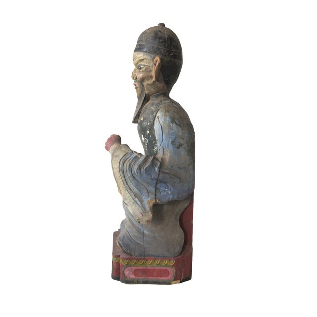Late Qing Dynasty Carved Wooden Ancestor Sculpture - Image 3 of 3