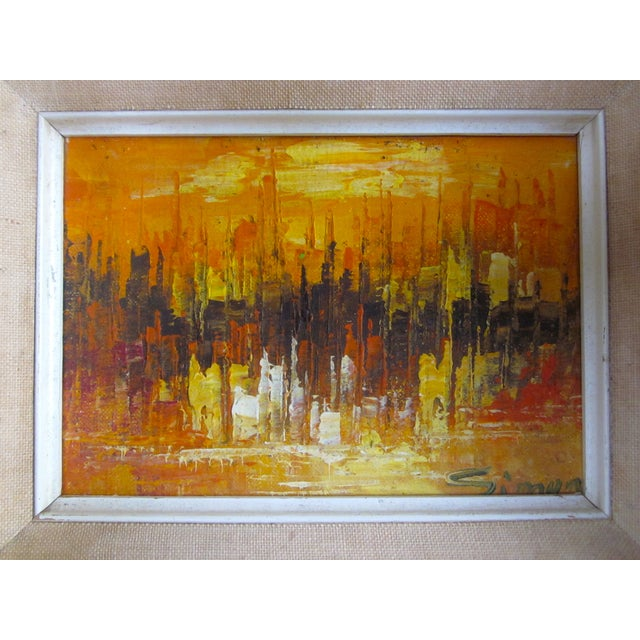 Mid Century Abstract Cityscape Painting - Image 1 of 10