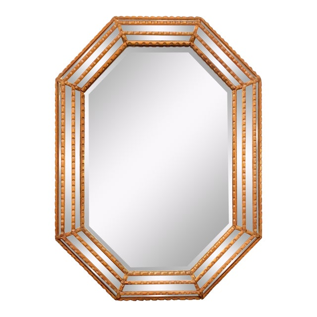 Italian Mid-Century Beaded and Beveled Octagonal Wall Mirror For Sale